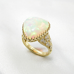 DECORATIVE OPAL TRIANGLE RING